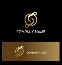 Round letter s technology connect gold logo vector