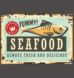 Seafood menu retro sign vector