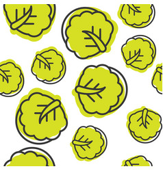 seamless outline chinese cabbage vegetable vector image