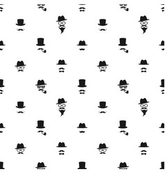 seamless pattern with black gentleman portrait vector image