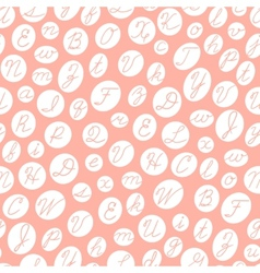 Seamless pattern with English cursive letters vector image