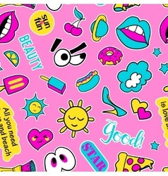 Seamless pattern with fashion patch badges Pop vector image