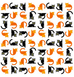 seamless simple flat cats pattern vector image