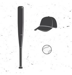set baseball cap ball bat silhouette vector image