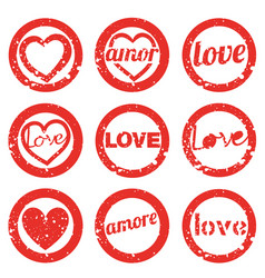 set love rubber stamp valentines day stamps vector image