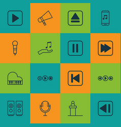 Set of 16 music icons includes music control vector