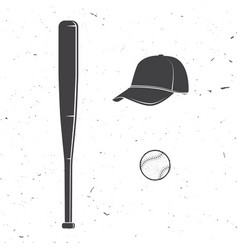 set of baseball cap ball bat silhouette for vector image