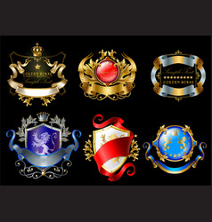 Set of colorful royal stickers or emblems vector