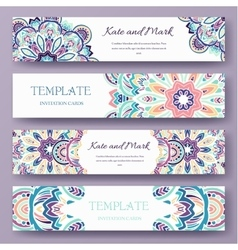 Set of ethnic ornament banners and flyer concept vector