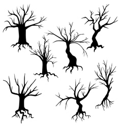 Set of of spooky trees silhouettes vector image