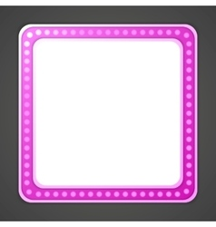Shining purple blank square retro light banner vector