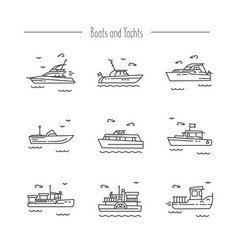 ships yachts contour icons vector image