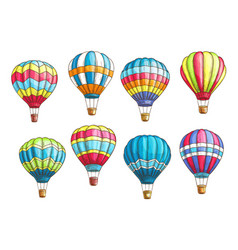 sketch icons set hot air balloons pattern vector image