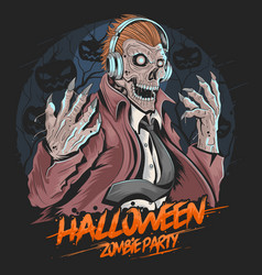 skull zombie dj music party halloween element vect vector image