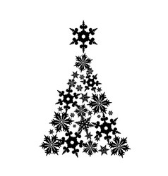 Snowflakes in the shape of a christmas tree vector