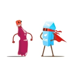Soda Against Milk Cartoon Fight vector image