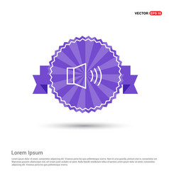 Sound volume icon - purple ribbon banner vector