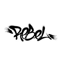 Sprayed rebel font graffiti with overspray in vector