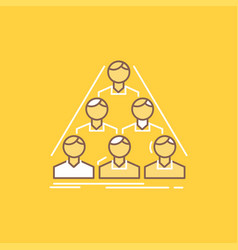 Team build structure business meeting flat line vector