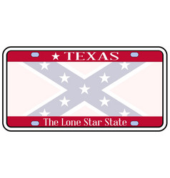 texas confederate flag plate vector image