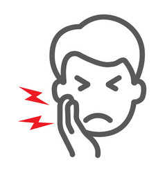 Toothache line icon body and pain tooth pain vector