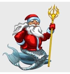 Triton Santa Claus with a Golden Trident vector