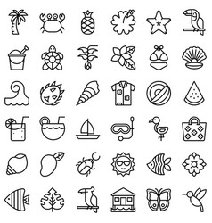 tropical related icon set line style vector image