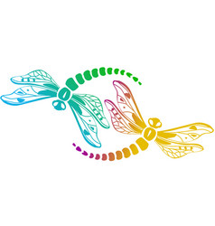 two decorative dragonflies vector image