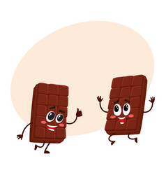 two funny chocolate bar characters jumping from vector image