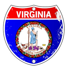Virginia flag icons as interstate sign vector