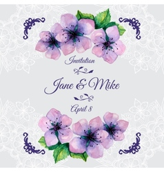 Watercolor elegant wedding invitation with vector image