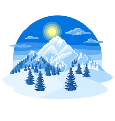 winter landscape with snowy mountains and fir vector image