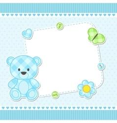 Blue teddy bear card vector image vector image