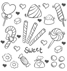 Doodle of candy sweet hand draw vector