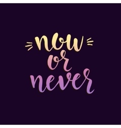 Now or never Inspirational Hand drawn vector image