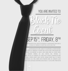 realistic white shirt black tie event invitation vector image