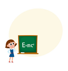 school girl answering at physics lesson vector image