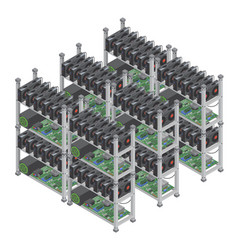 several isometric crypto currency mining vector image