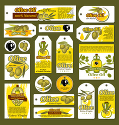 tags banners for olive oil organic product vector image