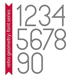 Black slim numbers single color delicate digits vector