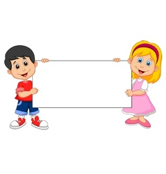 Cartoon Boy and girl holding blank sign vector image