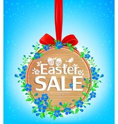 Easter sale wooden banner vector image vector image