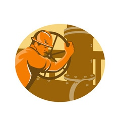 gas and oil worker closing pipeline pipe valve vector image vector image