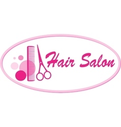 hair salon signboard with scissors and comb vector image