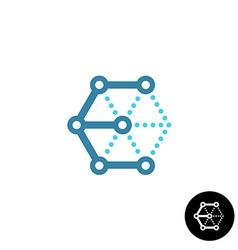 Letter E cube 3D tech wireframe logo vector image vector image
