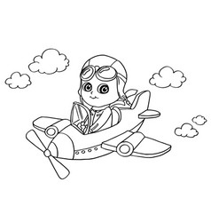 little boy flying in a toy plane coloring page vec vector image