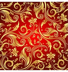 Luxury seamless golden floral wallpaper vector image