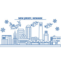usa new jersey newark winter city skyline vector image
