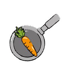 Carrot vegetable inside skillet pan vector