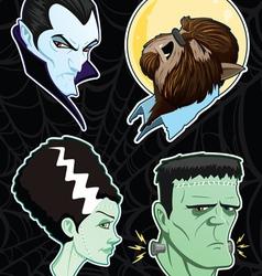 halloween monster heads vector image vector image
